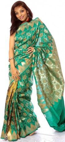 islamic_green_sari_from_banaras_with_handwoven_cp70