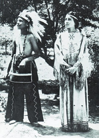 A-Cherokee-boy-and-girl-in-traditional-dress-on-a-North-Carolina-Reservation
